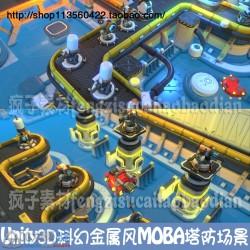 Unity3D科幻科技金属风 MOBA塔防游戏资源 u3d手游场景SCI-Fi Tower Defense Pack