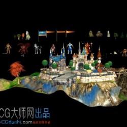 【免费】3D国王的恩赐城堡场景+角色的模型资源。