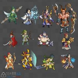 三国古代Q版 人物动作动画序列帧 手游游戏素材