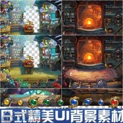 日式王道RPG UI素材 背景界面 图标 卡通Q版场景 手游游戏素材