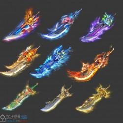 10套动态神器神兵特效序列 传奇类武器内观游戏特效发光 png素材