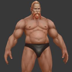 人体裸模凶猛的肌肉老男人