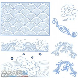 矢量图案 AI 云纹水纹 中国传统建筑服饰 吉祥纹样设计参考