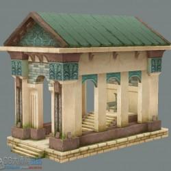 Q版神庙建筑小场景Temple building