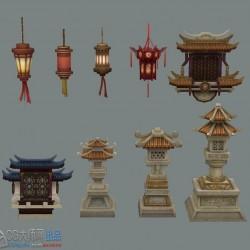 古代游戏建筑场景小道具物件配件