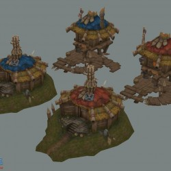 写实手绘游戏场景物件山石,四边面带PSD格式贴图