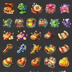 中国Q版古风游戏美术资源素材UI界面图标icon场景原画特效