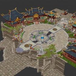中国风小镇场景模型unity3d+max