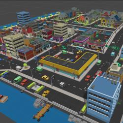精品卡通方盒子类型城市场景完整Simple Town - Cartoon Assets 11.01
