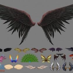 游戏翅膀模型资源整理好的翅膀第二弹带一个孔雀尾巴