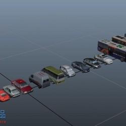 交通工具模型大集合,卡车,公交车,出租车,面包车模型