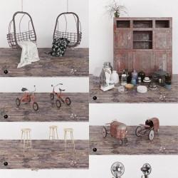 一套具有年代感的家具模型:吊篮,木柜,瓶瓶罐罐,儿童脚踏车,高脚凳,电风扇