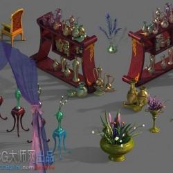 金银器,孔雀羽毛,锦绣,布料桌椅板凳模型资源