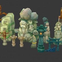 九天神话美术场景资源石头模型合集