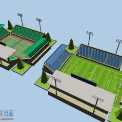 Unity体育场资源包SimplePoly Stadium Kit 1.1-2个球场类模型U3D文件