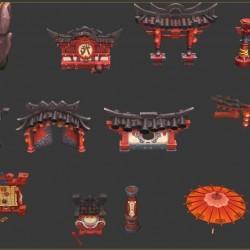 功夫熊猫高画质手绘Q版中国风场景模型
