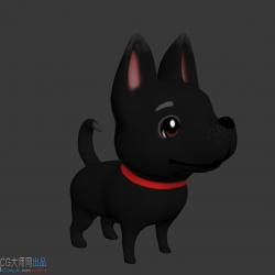 萌丑小黑狗模型有待机动作