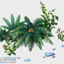 三渲二场景花草植物小花和青草小蘑菇矮小的灌木