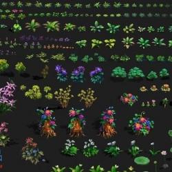 落叶飘飘 手绘写实类地表与植物花草PSD素材 高清2D场景修图