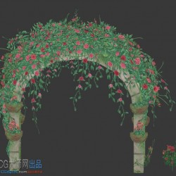 3d游戏美术场景资源玫瑰花门