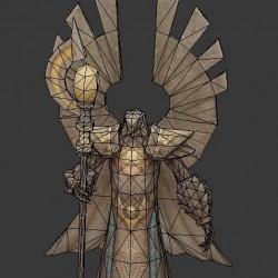 (大师网)3d游戏场景模型-埃及风鹰头人雕像