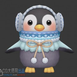 2只Q版企鹅宠物模型3d游戏模型素材