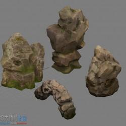 写实手绘山石模型假山模型加贴图
