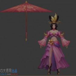 凤舞三国粉红裙美女 伞
