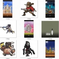 像素游戏人物图、建筑图,个性衬衫定制打印图案第三弹