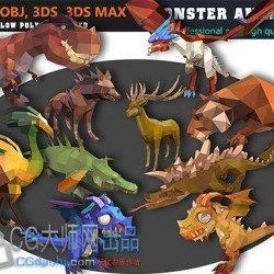 CG模型资源史前动物low poly恐龙卡通模型集合 - 动画模型