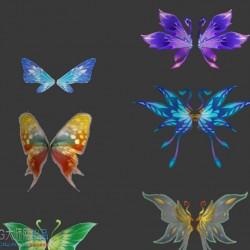 日韩手绘次世代 3D角色翅膀max模型贴图集合翅膀合集