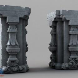 残缺石柱C4D模型(含材质+贴图)