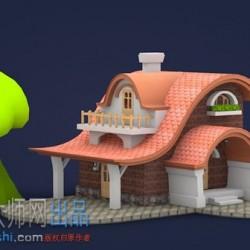卡通房子C4D模型(含材质+贴图)
