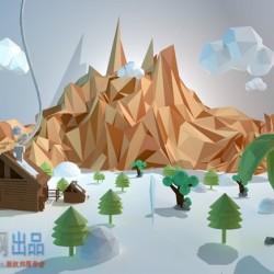 低面多边形景观C4D模型场景(含材质+贴图)