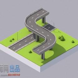 卡通桥梁街道场景C4D模型(含贴图+材质)
