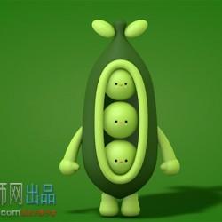 豌豆卡通形象C4D模型