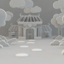 中式房屋剪纸风格C4D模型