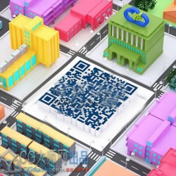 三维立体卡通城市二维码C4D模型