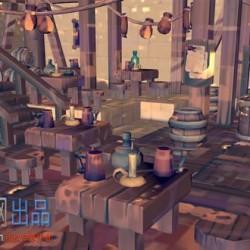 游戏酒店C4D模型(含贴图+材质)
