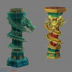 两个手绘卡通风简模龙柱子2个