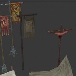 中国古代集市:小吃摊、水果摊、肉摊、旗子、灯笼、鸟笼、磨盘、香炉、伞、板车