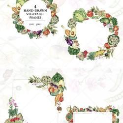 手绘彩铅水果蔬菜PNG免抠 田园风边框图案 矢量装饰设计素材