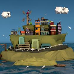 C4D卡通海岛场景模型