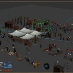 古代古建筑商业人物物品商贩摊位3Dmax模型动画绑定动作农民人