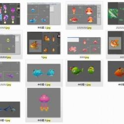 捕鱼资源,卡通22条鱼,OBJ格式,贴图。