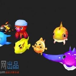 8只可爱Q版捕鱼模型