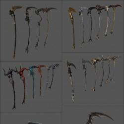 韩国魔幻大作次世代武器模型 韩风 刀 剑 弓 盾牌 斧头 法杖