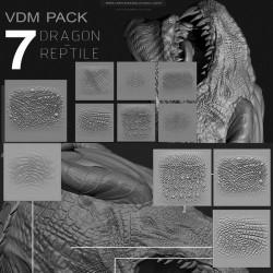 zbrush恐龙生物皮肤笔刷 REPTILE / DRAGON VDM PACK