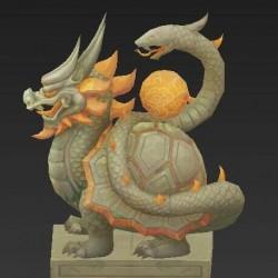4个玄武白虎雕塑 石像 物件3d模型
