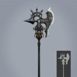 一套魔幻风武器3d模型,写实手绘贴图 斧头 长枪 盾 刀 大剑
